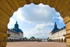 Schloss-Friedenstein die beiden Türme vom Hauptportal gesehen